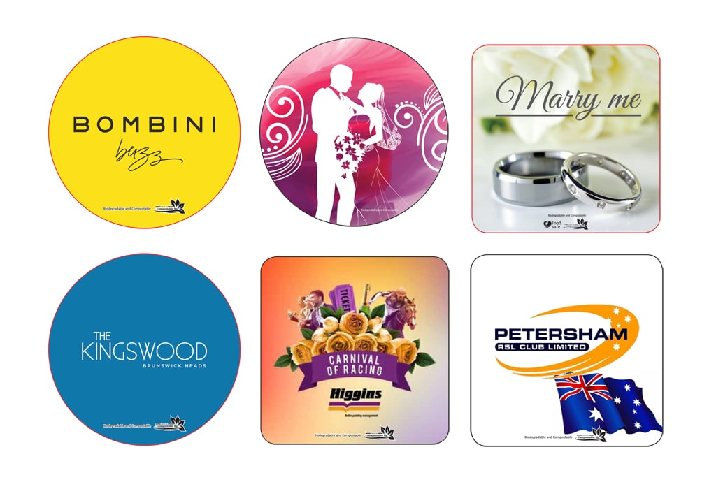 All of these coasters are available with our Biodegradable and Compostable logos.